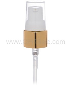 Pump, 20/410, Treatment Pump, Shiny Gold Collar, White Actuator, Clear PP Hood, Diptube Length  = 8 inches