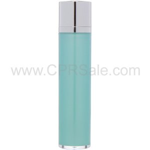 Airless Bottle, Shiny Silver Twist Up Dispenser with White Actuator, Teal Body, 50 mL
