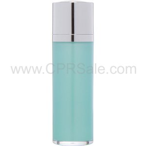 Airless Bottle, Shiny Silver Twist Up Dispenser with White Actuator, Teal Body, 30 mL