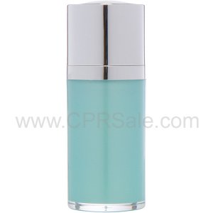 Airless Bottle, Shiny Silver Twist Up Dispenser with White Actuator, Teal Body, 15 mL