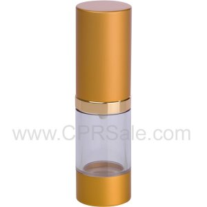 Airless Bottle, Matte Gold Cap, Shiny Gold Collar, Clear Body, 15 mL