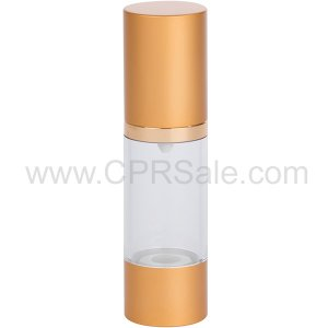 Airless Bottle, Matte Gold Cap, Shiny Gold Collar, Clear Body, 30mL