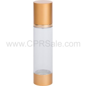 Airless Bottle, Matte Gold Cap, Shiny Gold Collar, Clear Body, 100mL