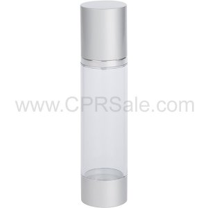 Airless Bottle, Matte Silver Cap, Shiny Silver Collar, Clear Body, 100mL