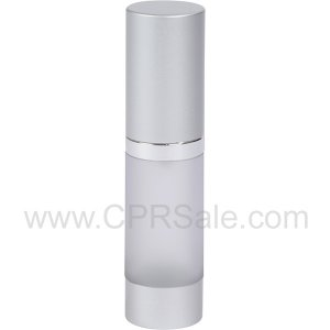 Airless Bottle, Matte Silver Cap, Shiny Silver Collar, Frosted Body, 15 mL