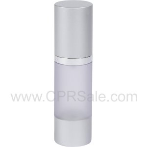 Airless Bottle, Matte Silver Cap, Shiny Silver Collar, Frosted Body, 30mL