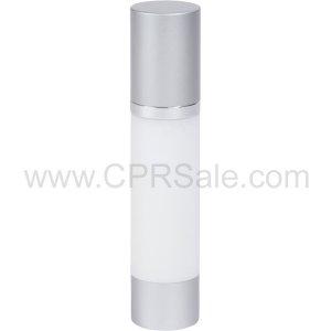 Airless Bottle, Matte Silver Cap, Shiny Silver Collar, White Body, 50 mL