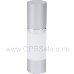 Airless Bottle, Matte Silver Cap, Shiny Silver Collar, White Body, 30 mL