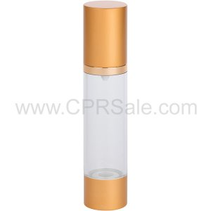 Airless Bottle, Matte Gold Cap, Shiny Gold Collar, Clear Body, 50 mL