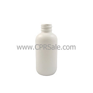 Plastic Bottle, HDPE, Boston Round, White, 2oz