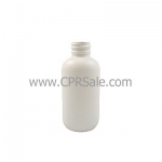 Plastic Bottle, HDPE, Boston Round, White, 2oz