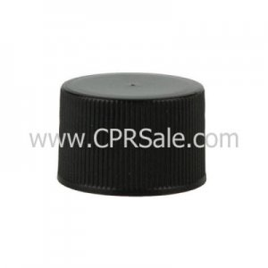 Cap, 24/410, Ribbed Screw Cap, Black with F217 Liner