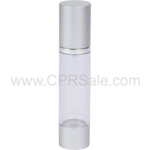 Airless Bottle, Matte Silver Cap, Shiny Silver Collar, Clear Body, 50 mL