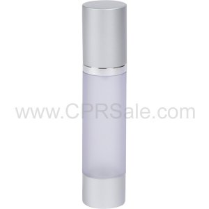 Airless Bottle, Matte Silver Cap, Shiny Silver Collar, Frosted Body, 50 mL