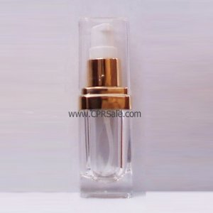 Acrylic Treatment Bottle, Clear Cap, Shiny Gold Collar, Clear Body, Square 15 mL