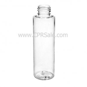 Plastic Bottle, PET, Cylinder, Clear, 4oz