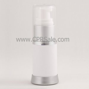 Airless Bottle, Clear Cap, Matte Silver Collar, White Body, 15 mL