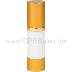 Airless Bottle, Matte Gold Cap, Shiny Gold Collar, White Body, 30 mL