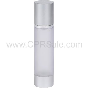 Airless Bottle, Matte Silver Cap, Shiny Silver Collar, Frosted Body, 100mL