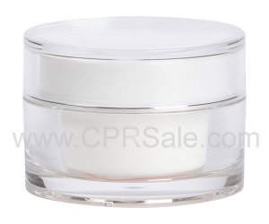 Jar, Acrylic, Round, Clear Outer, White PP Inner Cup, Shiny Silver Band on Cap, 15mL