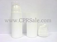 Airless Bottle, Clear Cap, White Collar, White Body, 30 mL