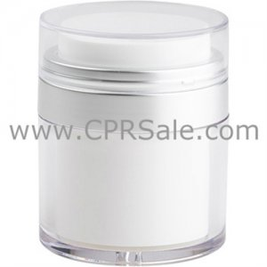 Airless Jar, Clear Cap, Matte Silver Collar, Clear Outer Body with White Inner, 30 mL