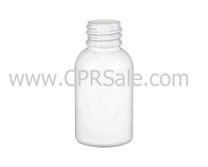 Plastic Bottle, HDPE, Boston Round, White, 1oz