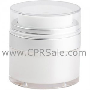 Airless Jar, Clear Cap, Matte Silver Collar, Pearl Inner Cup, 50 mL