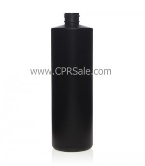 Plastic Bottle, HDPE, Cylinder, Black, 8oz