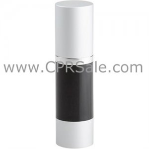 Airless Bottle, Matte Silver Cap, Shiny Silver Collar, Black Body, 30 mL