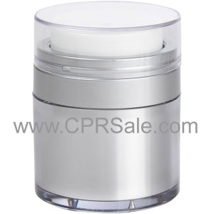 Airless Jar, Clear Cap, Matte Silver Collar, Platinum Body with Natural Inner Cup, 50 mL
