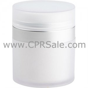 Airless Jar, Frosted Cap, Matte Silver Collar, White Inner Cup w/Frosted Outer, 50 mL