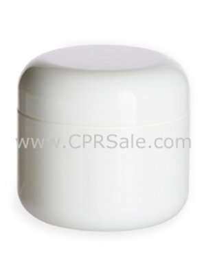 Jar, 2oz., PP, Round Base, White, Dbl Wall, 58mm with Dome Cap and Sealing Disc
