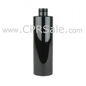 Plastic Bottle, PET, Cylinder, Black, 8oz