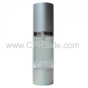 Airless Bottle, Matte Silver Cap, Shiny Silver Collar, Clear Body, 15 mL