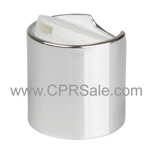 Cap, 20/410, Disc Cap, Shiny Silver Collar with White Press Top