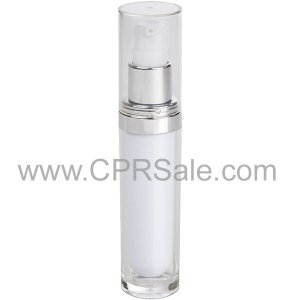 Acrylic Treatment Bottle, Clear Cap, Shiny Silver Collar, Clear Body, White Inner, Round 30 mL