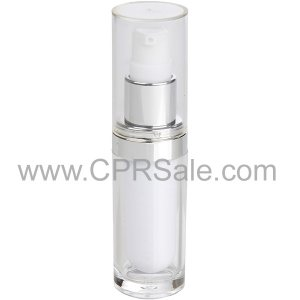 Acrylic Treatment Bottle, Clear Cap, Shiny Silver Collar, Clear Body, White Inner, Round 15 mL