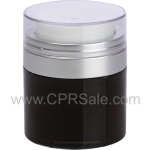 Airless Jar, Clear Cap, Matte Silver Collar, Black Body with Natural Inner Cup, 50 mL