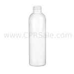 Plastic Bottle, PET, Bullet Round, White, 4oz