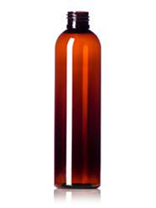 Plastic Bottle Pet Round Tall Amber 8oz Cosmetic