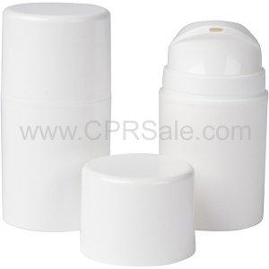 Airless Bottle, White Cap, White Pump and Collar, White Body, 50 mL