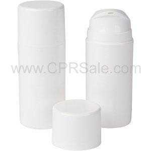 Airless Bottle, White Cap, White Pump and Collar, White Body, 100 mL