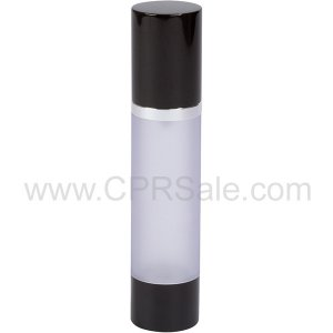Airless Bottle, Black Cap, Shiny Silver Collar, Frosted Body, 50 mL
