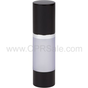 Airless Bottle, Black Cap, Shiny Silver Collar, Frosted Body, 30 mL