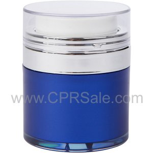 Airless Jar, Clear Cap, Shiny Silver Collar, Blue Body with Natural Inner Cup, 50 mL