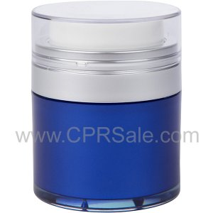 Airless Jar, Clear Cap, Matte Silver Collar, Blue Body with Natural Inner Cup, 30 mL