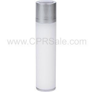 Airless Bottle, Matte Silver Twist Up Dispenser, White Body, 50 mL