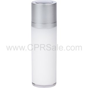 Airless Bottle, Matte Silver Twist Up Dispenser, White Body, 30 mL