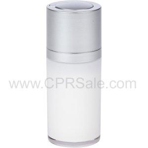 Airless Bottle, Matte Silver Twist Up Dispenser, White Body, 15 mL